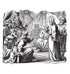 The sanhedrin trial of jesus - he is taken before vector