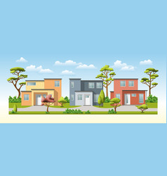three modern family house with trees vector image