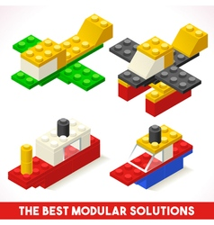 Toy Block Ship Plane Games Isometric vector image