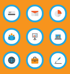 trade icons flat style set with team whiteboard vector image