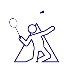 Triangle shape badminton sport figure outline vector