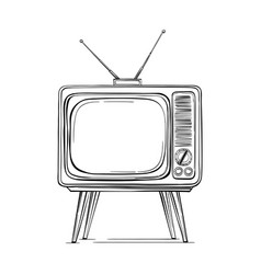 tv retro sketch vintage vector image