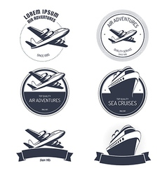 Vintage air and cruise tours labels and badges vector