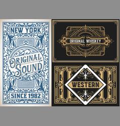Vintage cards set vector