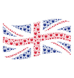 Waving united kingdom flag pattern of bug icons vector