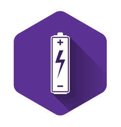 white battery icon isolated with long shadow vector image