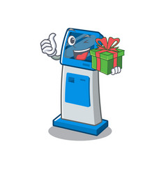 With gift information digital kiosk isolated in vector