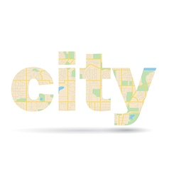 Word City with streets scheme - map vector