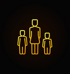 Yellow mother with two kids icon vector