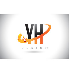 Yh y h letter logo with fire flames design and vector