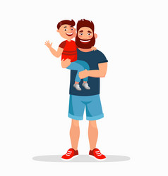 father and son flat father vector image