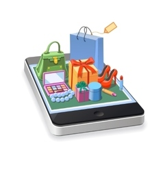 Mobile online shopping of woman accessories vector image vector image