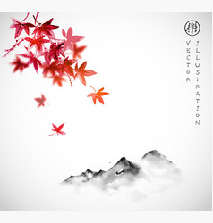 red japanese maple leaves and far mountains in fog vector image