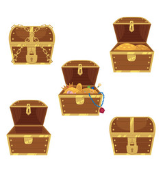 set of flat style treasure chests full and empty vector image