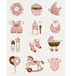 Baby icons - girl vector image vector image