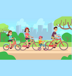 happy children and parents riding bikes active vector image vector image