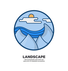 landscape scenery design with icy cliffs sea or vector image