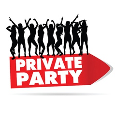 sign for private party with girl silhouette vector image