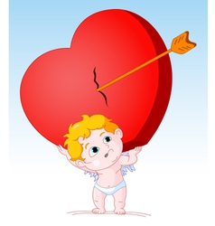 Cupid Holding Heavy Heart vector image vector image