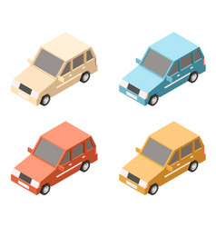 isometric car icons vector image