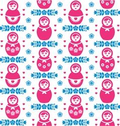 Russian doll Matryoshka folk art floral pattern vector image