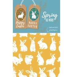 set of Easter tags and Rabbit easter vector image vector image