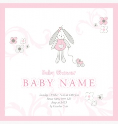 baby girl announcement card vector image vector image