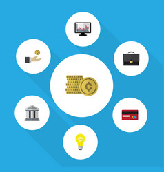 Flat icon finance set of bank portfolio hand vector