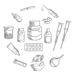 Medicine and pharmacy sketch icon vector