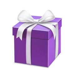 realistic purple gift box with white ribbon vector image vector image