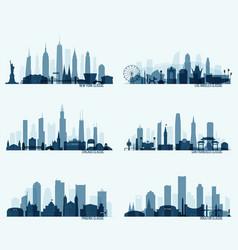 set north american citie new york chicago phoenix vector image