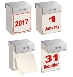 Set of tear off calendar 2017 vector image