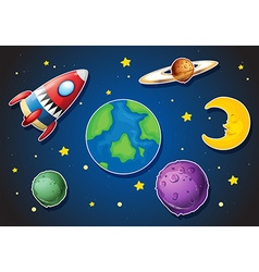 Spaceship and different planets in galaxy vector image vector image