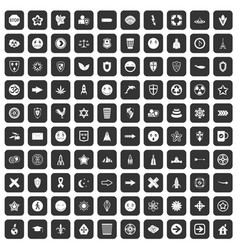 100 emblem icons set black vector image