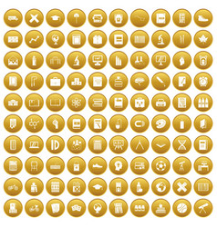 100 school icons set gold vector