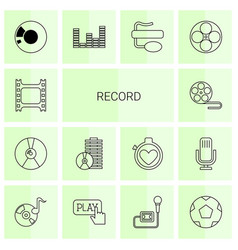 14 record icons vector image