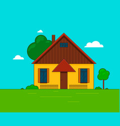 a little house landscape vector image