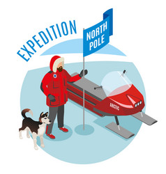 Arctic expedition isometric composition vector