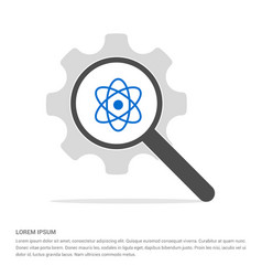 Atom sign icon search glass with gear symbol icon vector