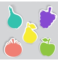 Autumn stickers set in fruits and vegetables shape vector