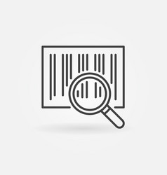 Barcode search line icon magnifying glass vector