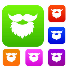 beard and mustache set color collection vector image