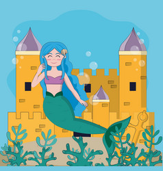 beautiful and magic mermaid vector image