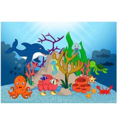 Beautiful underwater world cartoon vector