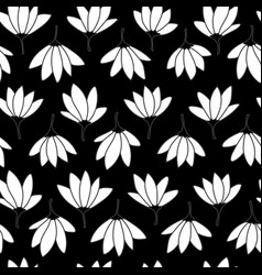 black and white frangipani seamless repeat vector image