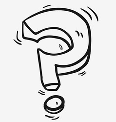 black and white freehand drawn cartoon question vector image