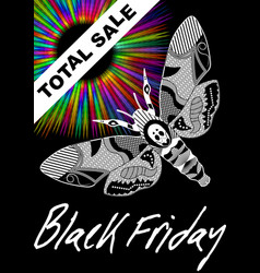 black friday total sale with deaths head hawkmoth vector image