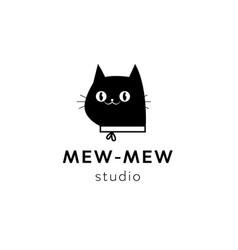 black minimal cat head logo vector image
