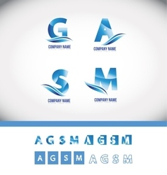 Blue alphabet letter logo icon set vector image