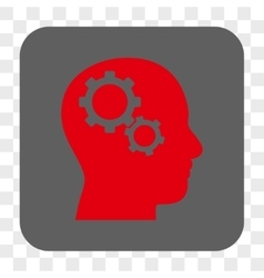 Brain Gears Rounded Square Button vector